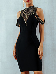 cheap -Mermaid / Trumpet Little Black Dress Beautiful Back Party Wear Cocktail Party Dress High Neck Short Sleeve Short / Mini Nylon with Beading 2020