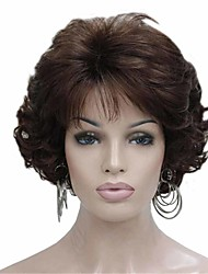 cheap -Synthetic Wig Curly Matte Layered Haircut Wig Short sepia Synthetic Hair 6 inch Women's Fashionable Design curling Fluffy Brown