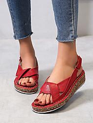 cheap -Women's Sandals Flat Sandal Slingback Summer Flat Heel Open Toe Casual Daily PU Black / Red / Blue