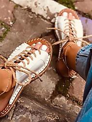 cheap -Women's Sandals Flat Sandal Summer Flat Heel Peep Toe Daily PU White / Black / Brown