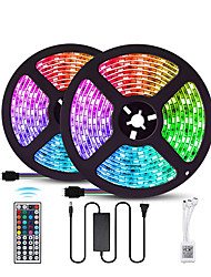 cheap -10M 2x5M LED Light Strips RGB Tiktok Lights SMD 5050 600LEDs IP60 Waterproof Lighting Color Changing Tape with 44 Keys IR Remote Controller DC 12V 6A Power Supply for TVHome Kitchen Bedroom Dec
