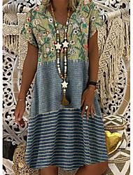cheap -Women's Shift Dress Knee Length Dress - Short Sleeves Floral Summer V Neck Elegant 2020 Blue Purple Army Green S M L XL XXL XXXL XXXXL XXXXXL