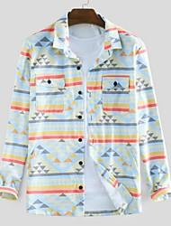 cheap -Men's Geometric Shirt - Cotton Tropical Hawaiian Holiday Beach Button Down Collar Red / Light Blue / Long Sleeve