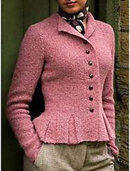 cheap -Women's Spring Winter Jacket Daily Regular Solid Colored Blue / Blushing Pink / Khaki M / L / XL / Loose