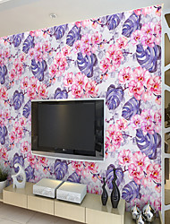 cheap -Custom Self-Adhesive Mural Wallpaper Purple Turtle Leaf Flowers Suitable For Bedroom Living Room Cafe Restaurant Hotel Wall Decoration Art   Wall Cloth Room Wallcovering Art Deco