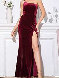 cheap -A-Line Mermaid / Trumpet Red Party Wear Dress Off Shoulder Sleeveless Floor Length Velvet with Split 2020