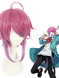 cheap -Cosplay Wig Ramuda Amemura Hypnosis Mic Straight With Bangs Wig Short Pink Synthetic Hair 14 inch Men's Anime Cosplay Exquisite Pink