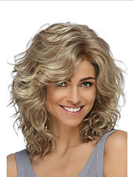 cheap -Synthetic Wig Deep Wave Asymmetrical Wig Blonde Medium Length Golden Brown Synthetic Hair 14 inch Women's Party Blonde