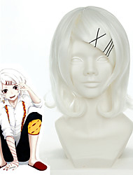 cheap -Tokyo Ghoul Cosplay Wigs Women's Asymmetrical 20 inch Heat Resistant Fiber Curly White Adults' Anime Wig