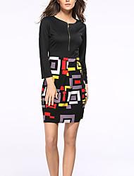 cheap -Women's Bodycon Dress - 3/4 Length Sleeve Geometric Color Block Summer Fall Elegant Street chic Party Belt Not Included 2020 Black S M L XL XXL XXXL