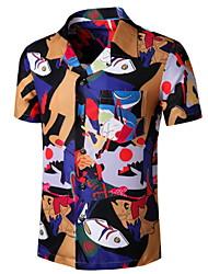 cheap -Men's Graphic Patchwork Print Shirt Tropical Daily Button Down Collar Blue / Short Sleeve