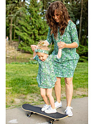 cheap -Mommy and Me Active Basic Floral 3/4 Length Sleeve Above Knee Dress Green