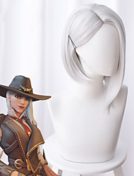 Недорогие -Overwatch Ashe Косплэй парики Жен. Ассиметричная стрижка 15 дюймовый Термостойкое волокно Естественные прямые Серебряный Серебряный Аниме