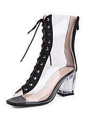 cheap -Women's Boots Spring & Summer Chunky Heel Peep Toe Daily PVC Black / Gold / Silver