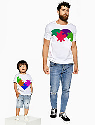 abordables -Papa et moi Actif Basique Bloc de Couleur Graphique Manches Courtes Normal Tee-shirts Blanche