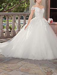 cheap -Ball Gown Wedding Dresses Sweetheart Neckline Chapel Train Tulle Short Sleeve Formal Wedding Dress in Color with Lace Insert Appliques 2021
