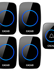 cheap -CACAZI Wireless Doorbell Waterproof 1 Button 4 Receiver 300M Remote LED Night Light Call Bell 0-110 dB 60 Chimes US EU UK AU Plug