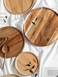 cheap -Wood Food Pan Plate Tray Storage Tray Display Plates Irregular Oval Solid Fruit Dishes Pots Trays Base Stander Decor Home Decorations