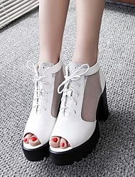 cheap -Women's Heels Summer Chunky Heel Peep Toe Daily PU White / Black