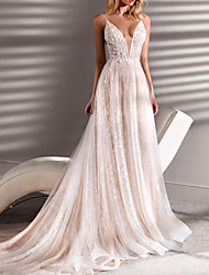 cheap -A-Line Wedding Dresses Spaghetti Strap Plunging Neck Short / Mini Lace Tulle Sleeveless Beach Sexy See-Through Plus Size with Beading 2020