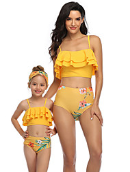 cheap -2 Piece Mommy and Me Active Sweet Floral Color Block Graphic Backless Ruffle Print Sleeveless Short Above Knee Swimwear Yellow