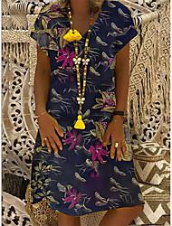 cheap -Women's A-Line Dress Knee Length Dress - Short Sleeve Floral Patchwork Summer V Neck Casual Vintage Daily Belt Not Included Oversized 2020 White Black Beige S M L XL XXL XXXL