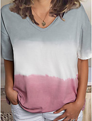 cheap -Women's Color Block Tie Dye T-shirt Daily V Neck Wine / Blue / Purple / Blushing Pink / Brown