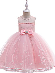 cheap -Ball Gown Floor Length Wedding / Party Flower Girl Dresses - Lace / Tulle Sleeveless Jewel Neck with Bow(s) / Embroidery