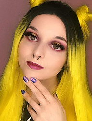 cheap -Synthetic Lace Front Wig Straight Gaga Middle Part Lace Front Wig Long Yellow Synthetic Hair 22-26 inch Women's Heat Resistant Women Hot Sale Ombre Yellow / Glueless