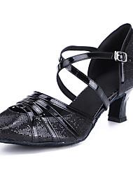 cheap -Women's Latin Shoes Modern Shoes Salsa Shoes Heel Buckle Cuban Heel Black Bronze Gold Buckle