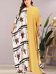 cheap -Women's Sheath Dress Maxi long Dress - 3/4 Length Sleeve Color Block Summer Elegant 2020 Yellow One-Size
