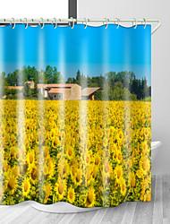 Недорогие -подсолнух цветок цифровая печать занавески для душа водонепроницаемый полиэстер ткань&усилитель; нержавеющая медная пряжка без загрязнения цифровой печати