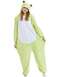 cheap -Adults' Kigurumi Pajamas Frog Animal Onesie Pajamas Coral fleece Green Cosplay For Men and Women Animal Sleepwear Cartoon Festival / Holiday Costumes / Leotard / Onesie