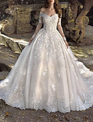 cheap -Ball Gown Wedding Dresses Off Shoulder Sweep / Brush Train Lace Tulle Long Sleeve Formal Sexy Illusion Sleeve with Embroidery 2020