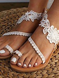 cheap -Women's Sandals Boho Bohemia Beach Flat Heel Open Toe Wedding Sandals Wedding Daily Beach Lace PU Lace White