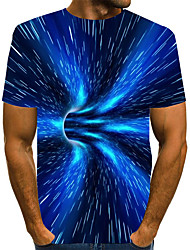 cheap -Men's Graphic optical illusion T-shirt Print Short Sleeve Daily Tops Basic Exaggerated Round Neck Blue
