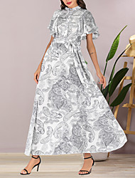 cheap -Women's Maxi Chiffon Dress - Short Sleeves Print Summer Elegant Boho Daily Going out Butterfly Sleeve 2020 White M L XL XXL