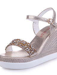cheap -Women's Sandals Wedge Sandals 2020 Spring &  Fall / Spring & Summer Wedge Heel Open Toe Sexy Sweet Wedding Daily PU Gold / Silver