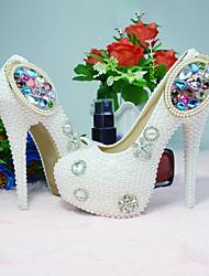 cheap -Women's Heels Fall & Winter Stiletto Heel Round Toe Wedding Party & Evening Rhinestone PU White