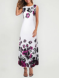 cheap -Women's Maxi A Line Dress - Sleeveless Print Summer Fall Elegant 2020 White Black S M L XL XXL
