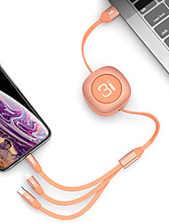 Недорогие -Rock Micro USB / молния / кабель типа C 2 1,2 м (4 фута) плоский / от 1 до 3 / быстрая зарядка