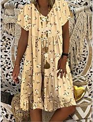 cheap -Women's A Line Dress Short Mini Dress Yellow Beige Gray Light Blue Short Sleeve Floral Summer V Neck Casual 2021 S M L XL XXL 3XL 4XL 5XL