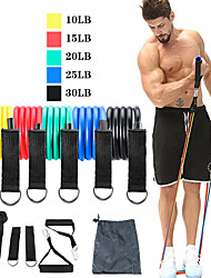 cheap -Resistance Band Set 11 pcs 5 Stackable Exercise Bands Door Anchor Legs Ankle Straps Sports TPE Gym Workout Pilates Exercise & Fitness Heavy-duty Carabiner Adjustable Durable Resistance Training