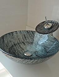 Недорогие -мойка из закаленного стекла с круглой резьбой из сосны с выдвижным сливным краном и монтажным кольцом