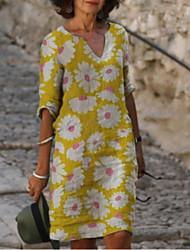 cheap -Women's A-Line Dress Knee Length Dress - Half Sleeve Floral Summer Casual Mumu 2020 Yellow Light Blue S M L XL XXL XXXL XXXXL XXXXXL