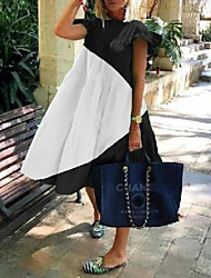 cheap -Women's Shift Dress - Short Sleeves Color Block Summer Elegant Loose 2020 Black Blushing Pink Green S M L XL XXL