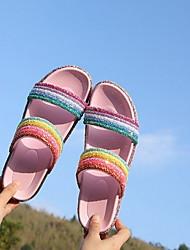 cheap -Women's Sandals Flat Sandal Summer Flat Heel Peep Toe Daily PVC Red / Pink