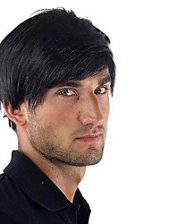 cheap -Synthetic Wig Natural Straight With Bangs Wig Short Black Synthetic Hair 6 inch Men's New Design Easy dressing Cool Black