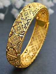cheap -Women's Cuff Bracelet Hollow Out Wedding Vintage Theme Luxury Classic Trendy Ethnic Africa 24K Gold Plated Bracelet Jewelry Gold For Christmas Wedding Gift Birthday Festival