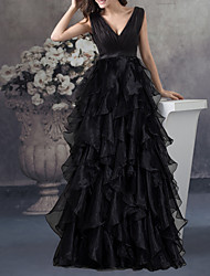 cheap -A-Line Empire Black Party Wear Prom Dress V Neck Sleeveless Floor Length Organza with Tier 2020